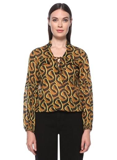 NetWork Kadın 1074631 Desenli Bluz Taba